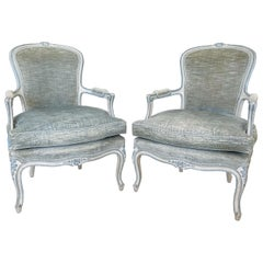 Antique Pair of Louis XV Painted Bergère/Armchairs
