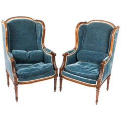 Antique Pair of Louis XV Revival Fauteuil Wingback Armchairs, 19th Century