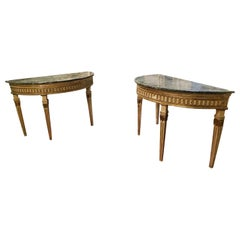 Antique Pair of Louis XVI Wood Lacquered Consoles, Green Marble Half-Moon Top