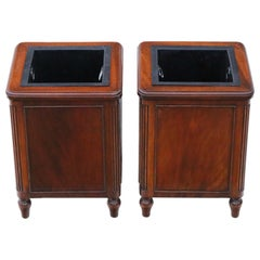 Antique Pair of Mahogany Jardiniere Planters Waste Paper Bins
