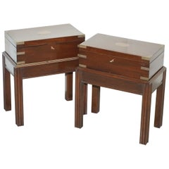 Antique Pair of Mahogany Military Campaign Chests on Stands Side End Table Sized