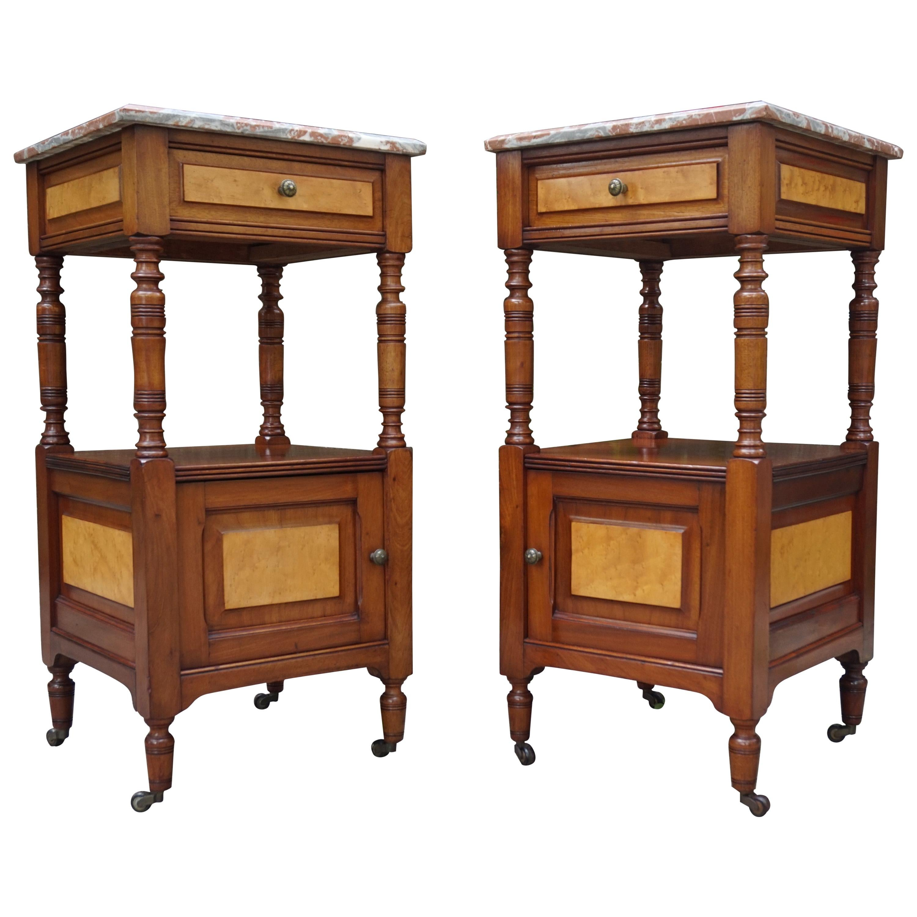 Antique Pair of Mahogany Nightstands with Bird's-Eye Maple Inlay and Marble Tops