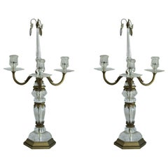 Antique Pair of Maison Baguès Rock Crystal Candelabras