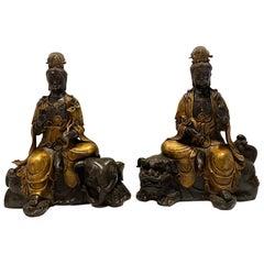 Antique Pair of Manjusri & Samantabhadra Statues Shown Museum Exhibit
