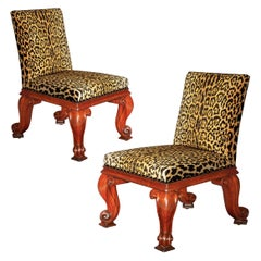 Antique Pair of Massive Regency Chairs by Gillows in Leopard Print Velvet
