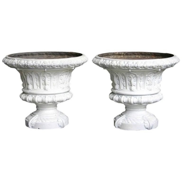 Antique Pair of Mid-Victorian Cast Iron Garden Urns For Sale