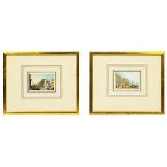 Antique Pair of Miniature Watercolors by Samuel Prout, Early 19th Century