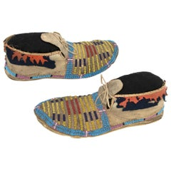 Antique Pair of Native American Beaded Moccasins, Crow 'Plains', 19th Century
