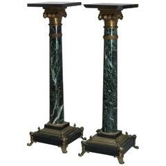Antique Pair of Neoclassical Bronze & Marble Sculpture Pedestals, Circa 1880