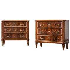 Antique Pair of Neoclassical Mahogany Louis XVI Chests from Russia, 19th Century
