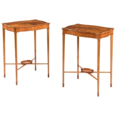 Antique Pair of Neoclassical Satinwood Marquetry Side Tables