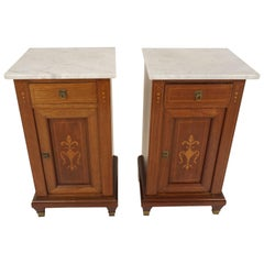 Antique Pair of Nightstands, Continental Inlaid Mahogany Bedside, Scotland 1900
