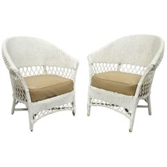 Antique Pair of White Wicker Rattan His and Hers Sunroom Victorian Armchairs