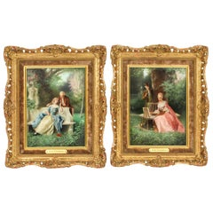 Antique Pair of Oil on Canvas Courtiers Paintings by Raimund Von Wichera 19th C