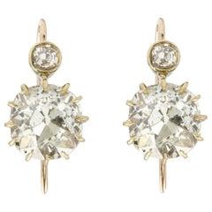Antique Pair of Old-Cut Diamond Drop Earrings