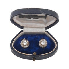 Antique Pair of Old Cut Diamond Set Earrings