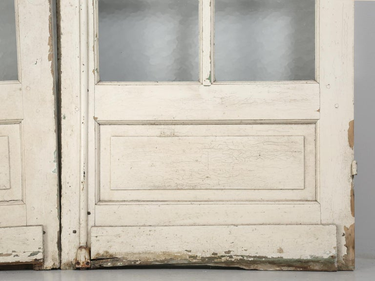 Antique Pair of Old Paint French Doors For Sale 5