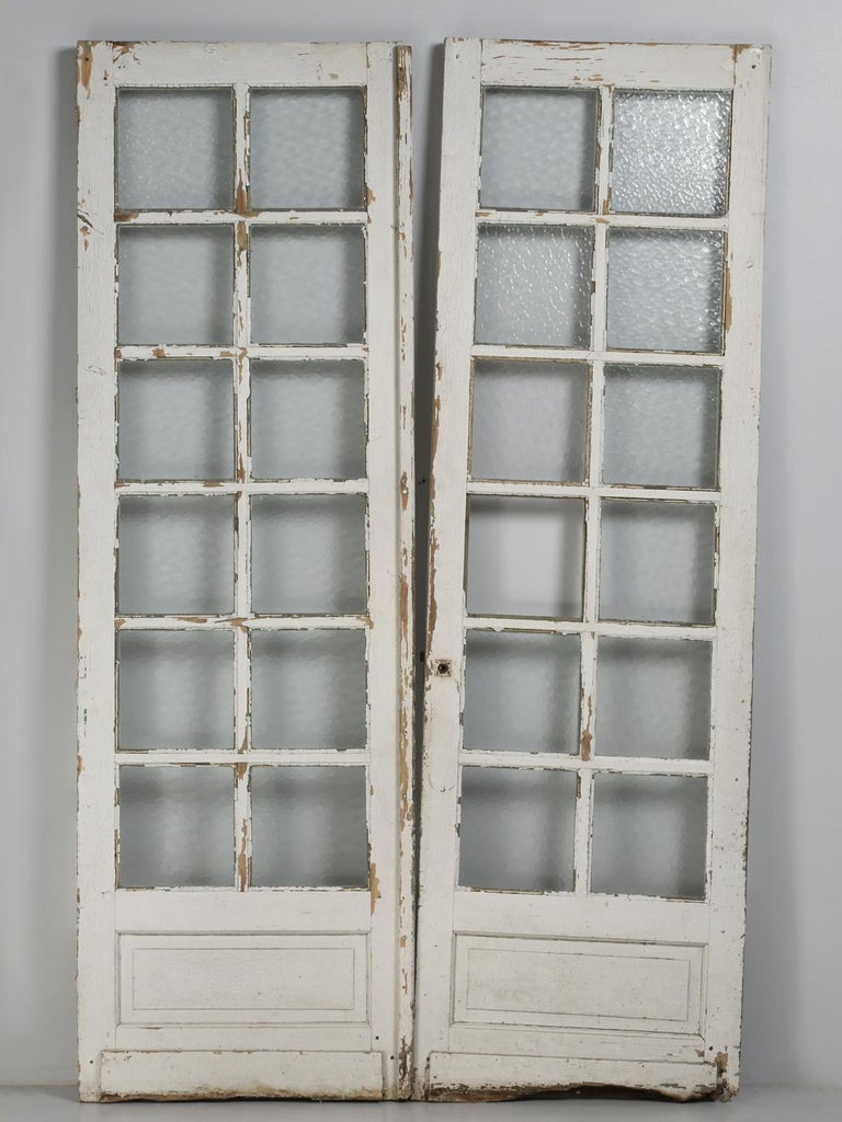 Antique Pair of Old Paint French Doors For Sale 6