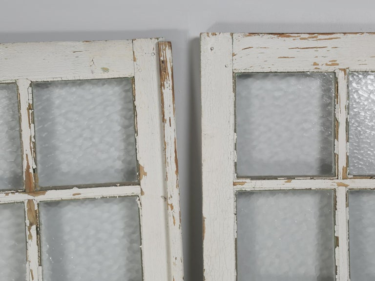 Antique Pair of Old Paint French Doors For Sale 7