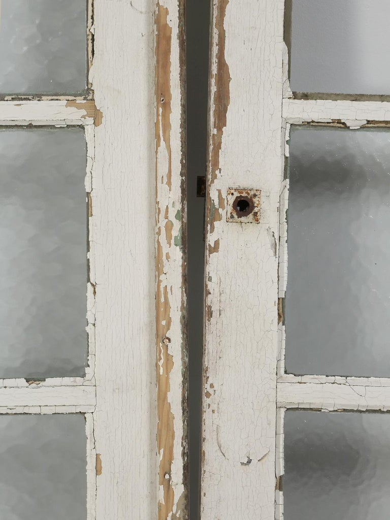 Antique Pair of Old Paint French Doors For Sale 8