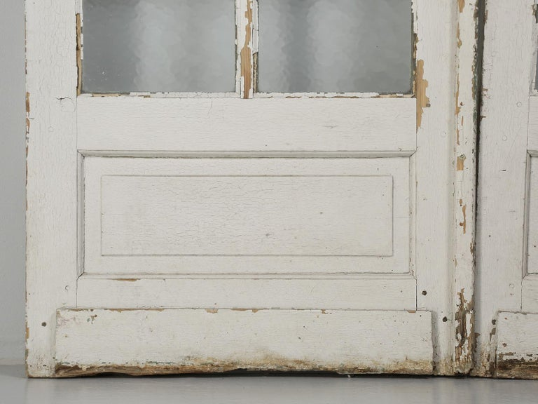 Antique Pair of Old Paint French Doors For Sale 9