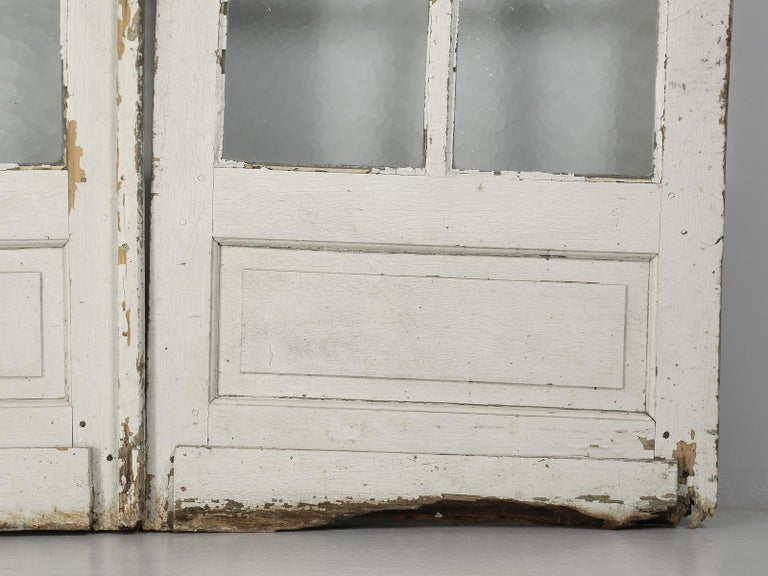 Antique Pair of Old Paint French Doors For Sale 10