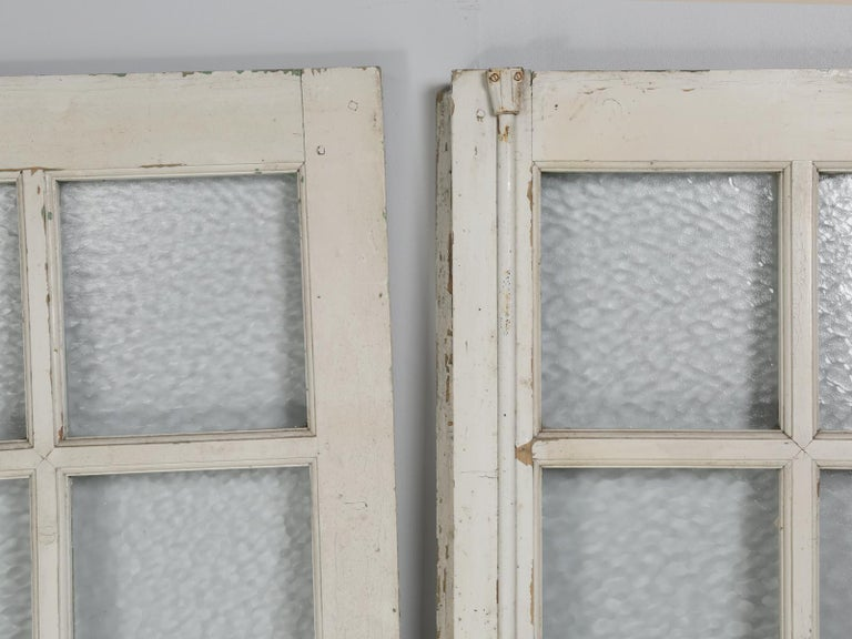 Country Antique Pair of Old Paint French Doors For Sale