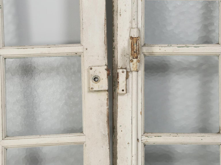 Antique Pair of Old Paint French Doors For Sale 1