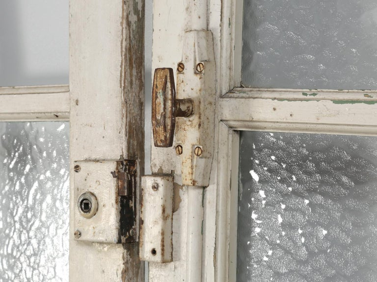 Antique Pair of Old Paint French Doors For Sale 2