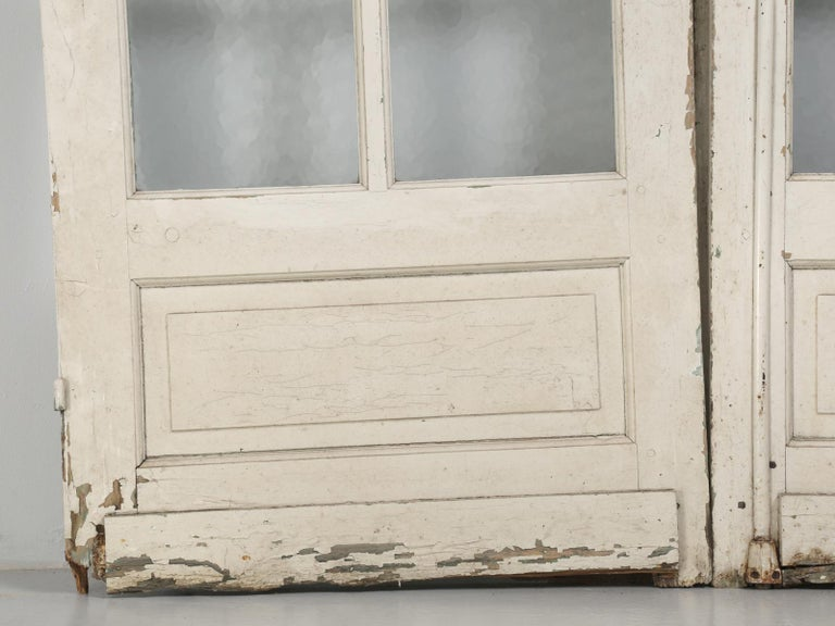 Antique Pair of Old Paint French Doors For Sale 3