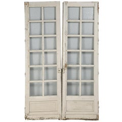 Antique Pair of Old Paint French Doors