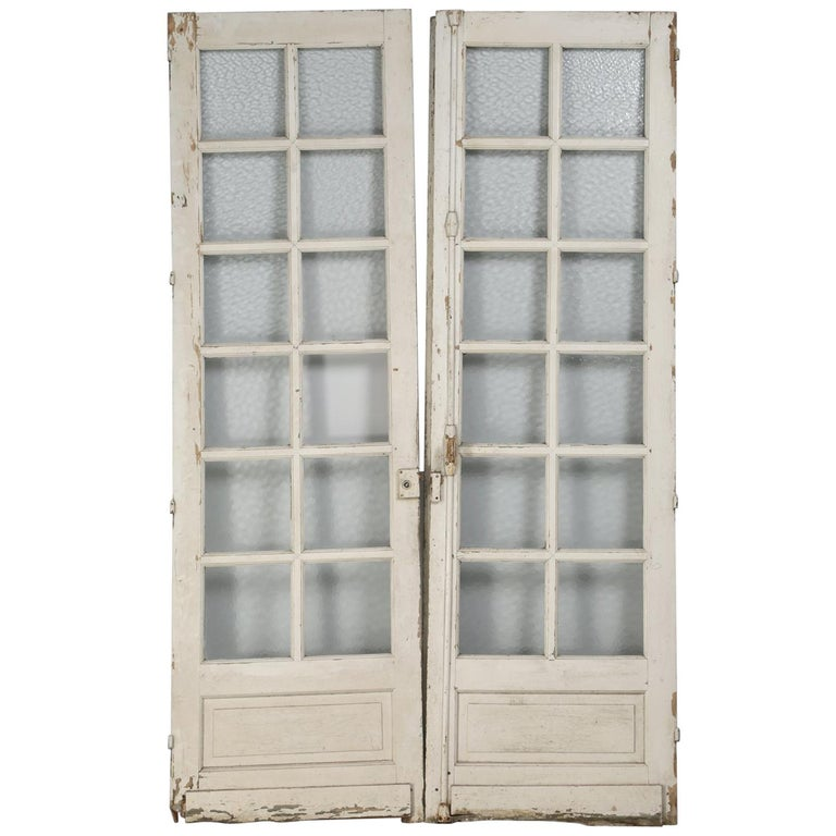 Antique Pair of Old Paint French Doors For Sale