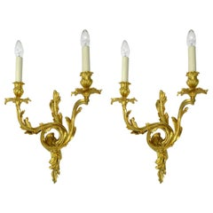 Antique Pair of Ormolu Gilt Bronze Twin Light Wall Candle Sconces Appliques 19Ct