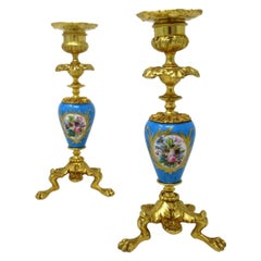 Antique Pair of Ormolu Sèvres Porcelain Gilt Bronze Candlesticks Candelabra