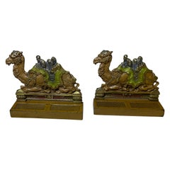 Antique Pair of Painted Cast Iron Camel Bookends by Judd Co, ca. 1910