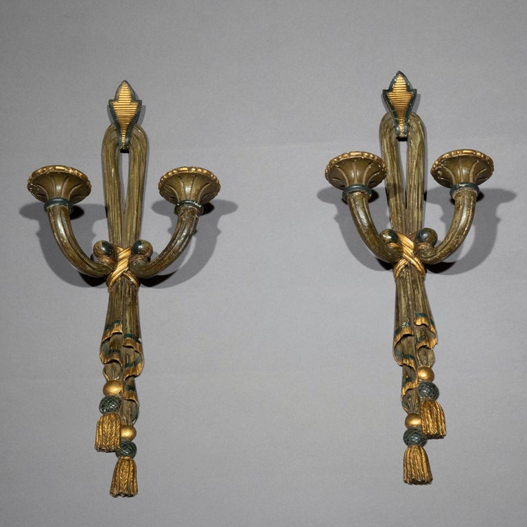 Antique Pair of Painted Neoclassical Wall Lights or Sconces, 19th Century In Good Condition For Sale In London, GB