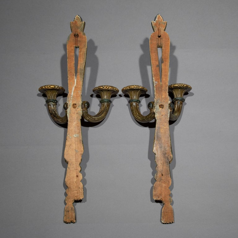 Antique Pair of Painted Neoclassical Wall Lights or Sconces, 19th Century For Sale 3