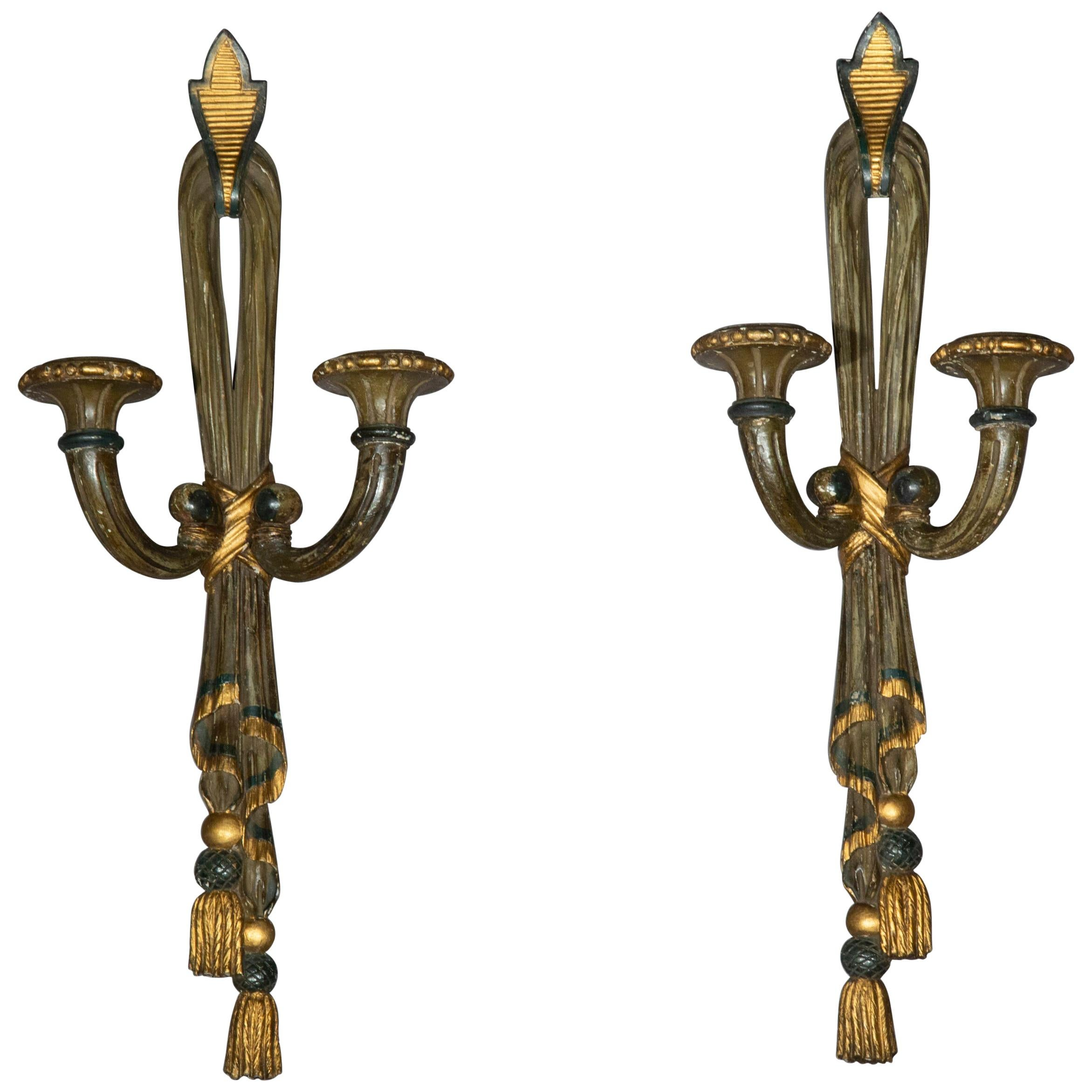 Antique Pair of Painted Neoclassical Wall Lights or Sconces, 19th Century