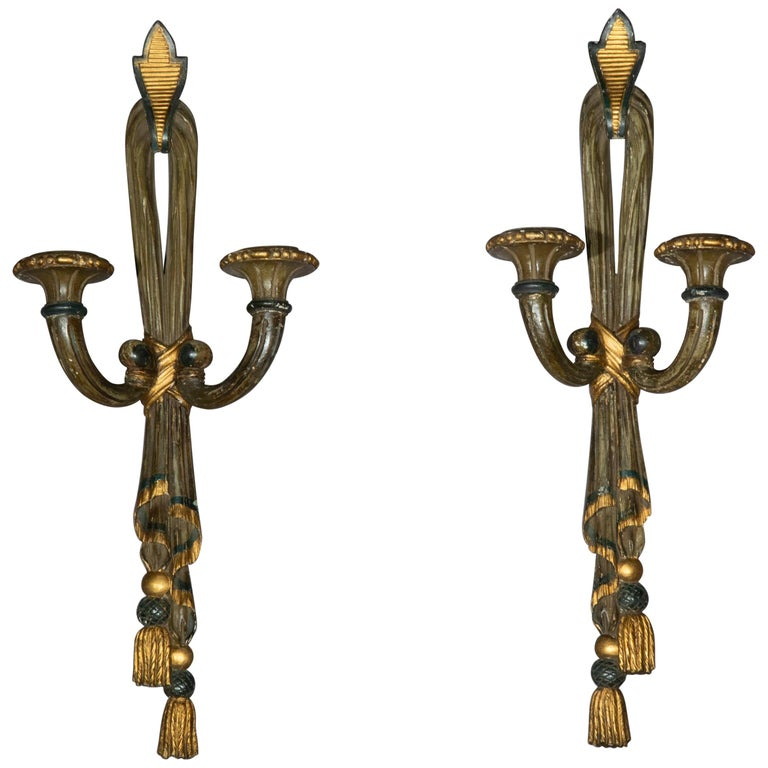 Antique Pair of Painted Neoclassical Wall Lights or Sconces, 19th Century For Sale