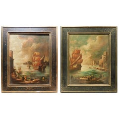 Antique Pair of Paintings, Oil on Canvas, Sea Views, Painted Frame, 18th Century