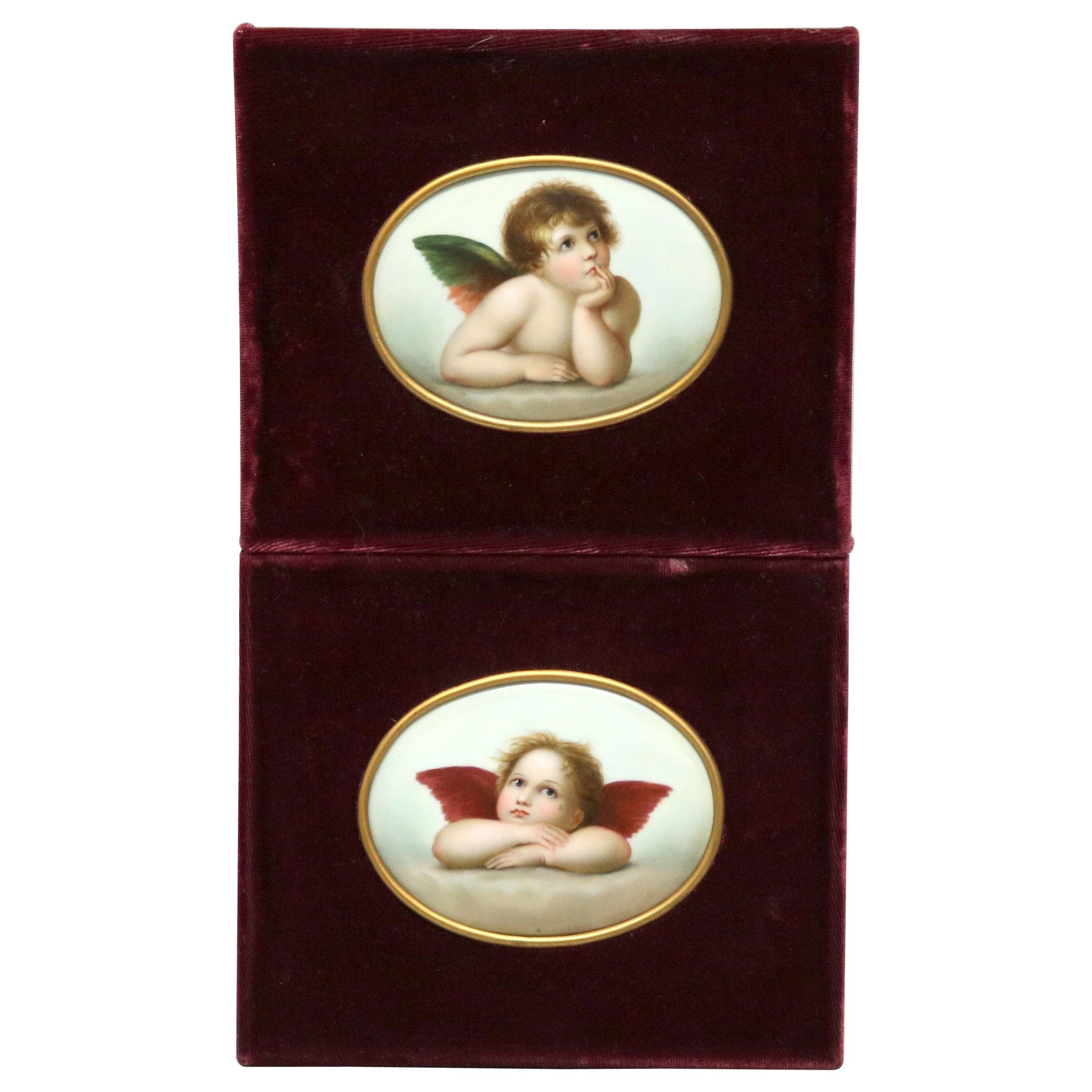 Antique Pair of Paintings on Porcelain of Winged Cherubs in Velvet Frames 19thC