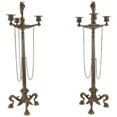 Antique Pair of Patinated Bronze Candelabra by Susse Freres
