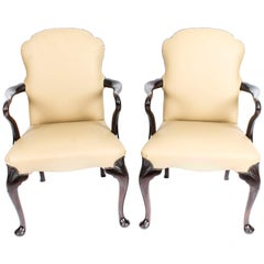 Antique Pair of Queen Anne Revival Armchairs, Early 20th Century
