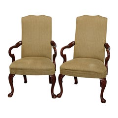 Antique Pair of Queen Anne Style Mahogany Fireside Armchairs, 20th Century