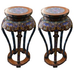 Antique Pair of Red, Blue and Multicoloured Cloisonné Tables