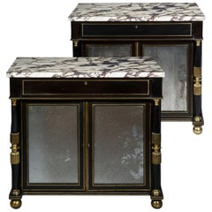Antique Pair of Regency Black Lacquer Marble Top Pier Cabinets