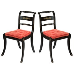 Antique Pair of Regency Black Painted Klismos Chairs