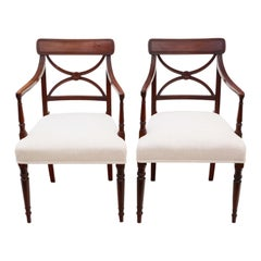 Antique Pair of Regency Elbow Carver Desk Chairs X Back