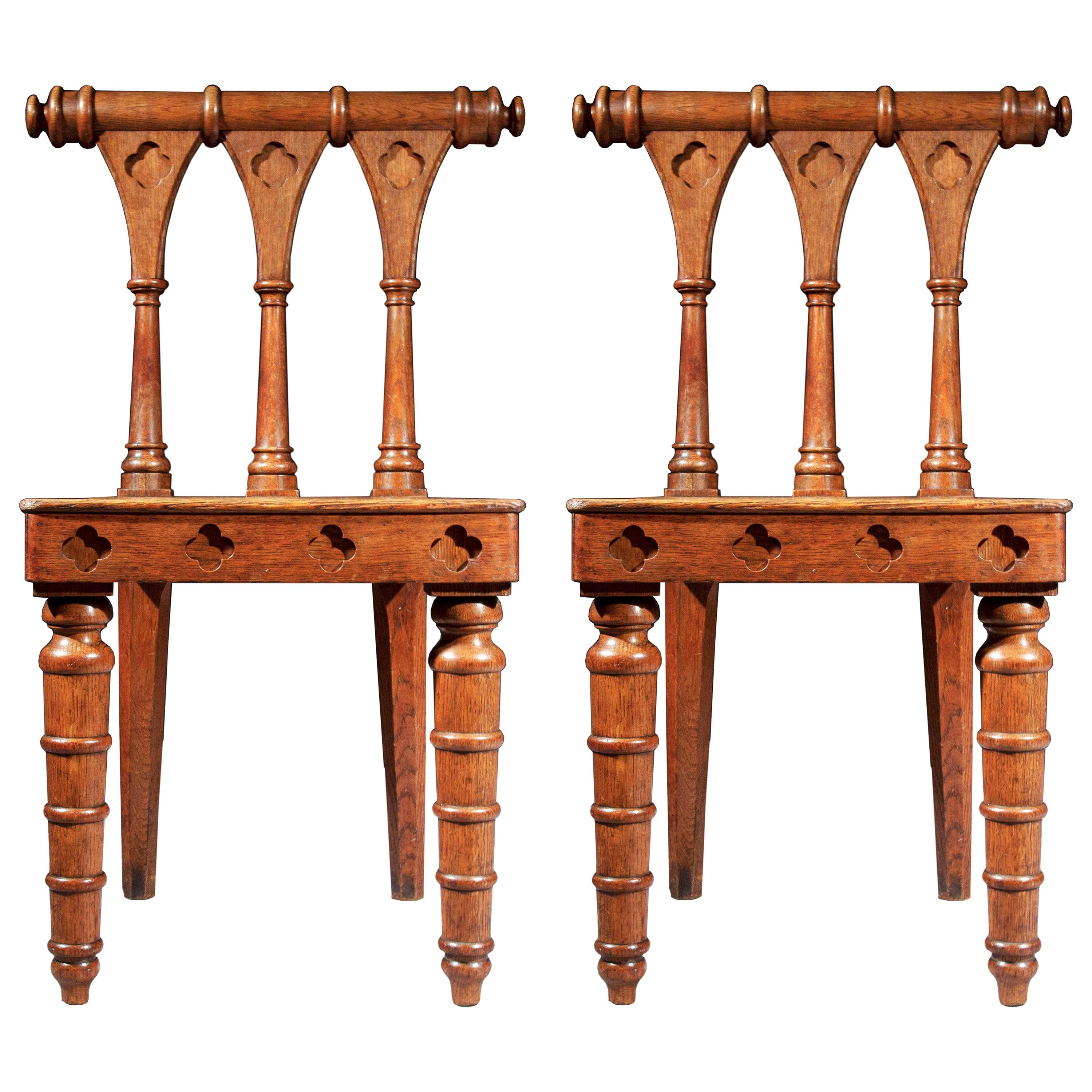 Antique Pair of Regency Hall Chairs in Gothic Style, Early 19th Century