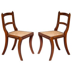 Antique Pair of Regency Klismos Chairs, Early 19th Century
